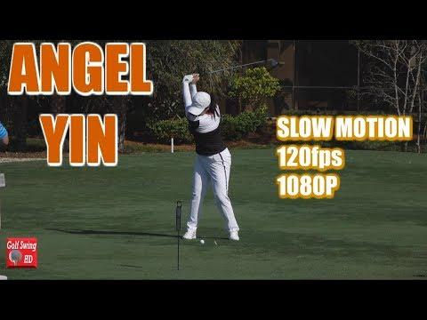Angel yin 120fps slow motion fairway iron golf swing 1080 hd