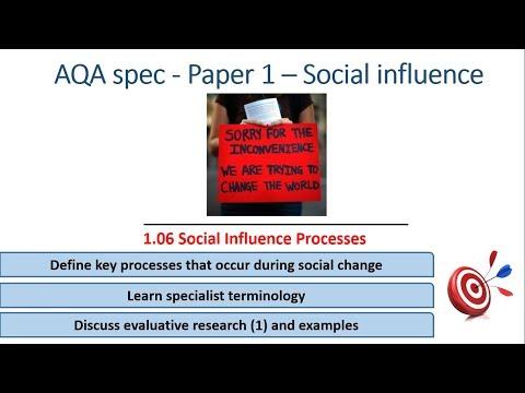 Social change processes - social influence (1.06) psychology aqa paper 1