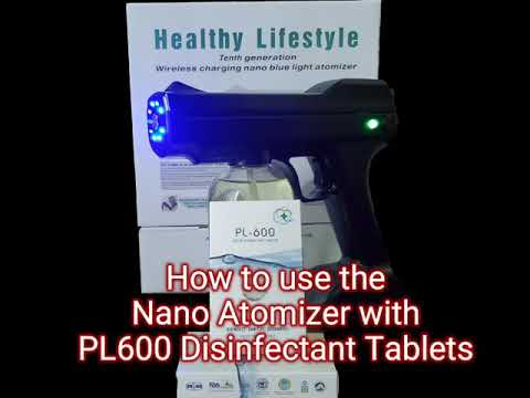 How to use the nano atomizer with pl600 disinfectant tablets