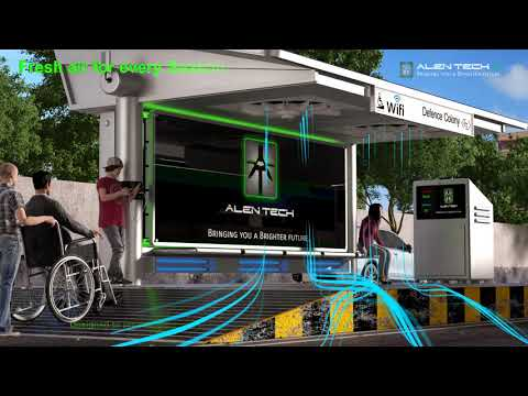Solar powered water based outdoor air purification wifi smart bus shelter