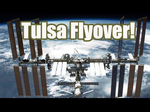 International space station - iss - flies over tulsa and broken arrow oklahoma