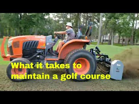 Myrtle beach south carolina golf course fairway and green aerification procedure.