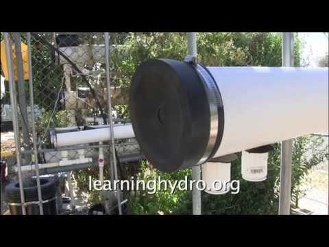 Entry / exit fittings & perforated drain pipe for hydroponic tube garden
