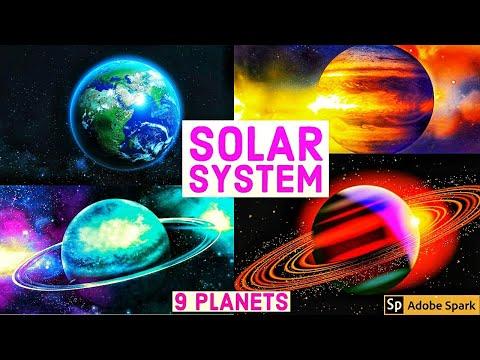 Solar system, 9 planets, 140 moons, mercury,venus,earth,mars,jupiter,saturn,uranus,neptune,pluto,sun
