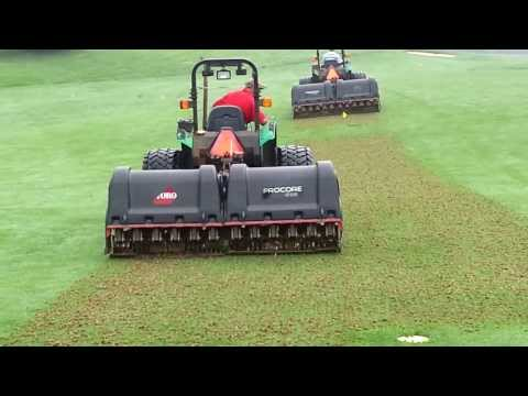 Golf course fairway aeration with pro core 1298s