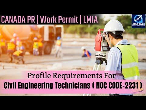 Civil engineering technologist-profile description for canada work permit, lmia & pr   noc code 2231