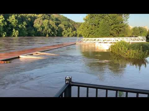 Flooded aluminum floating dock rowing center survives test