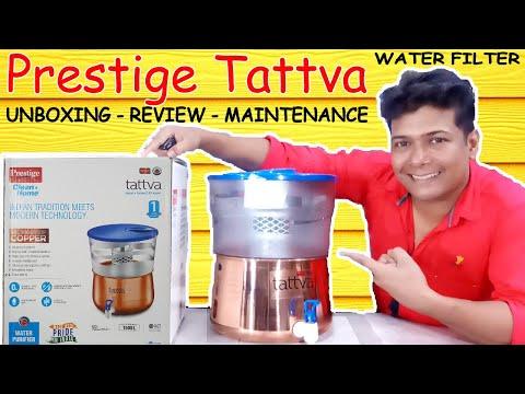 Prestige tattva water purifier unboxing, review, maintenance : prestige copper water filter -reveled